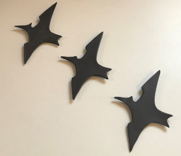 Porcelain pterodactyl silhouette